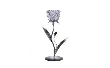 Silvery Glass Bloom Candleholder 6dbd56e1-e5ad-4276-8fdb-22385fcca37d