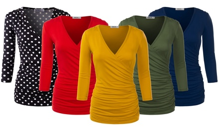 Doublju Women's V Neck Twist Knot Ruched Waist Tunic Top Blouse Was: $29.99 Now: $13.99.