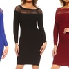 Style Clad Women's Long-Sleeve Textured Fishnet-Detail Bodycon Dress