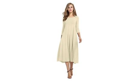Women's 3/4 Sleeve A-line and Flare Midi Long Dress 89fff7b7-d177-4a11-805c-661868584f45