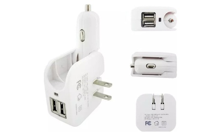 2-in-1 Compact Dual USB Wall Fast Travel Charger Car Charger 5V 2.1A 37b916e8-f66d-4363-919d-43e6621a57f1