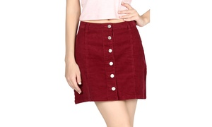 Celebrity NYC Womens Corduroy Burgandy Short Skirt