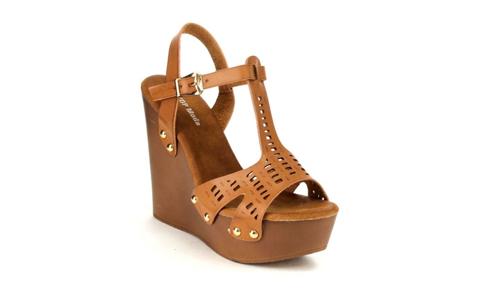 Beston CC28 Platform Wedge Heel Hollow Up T-strap Dress Sandals