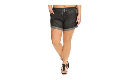 Casual Retro Comfort Drawstring Denim Short - Plus Size