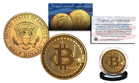 BITCOIN Physical Commemorative Crypto 24K Gold Plated JFK Half Dollar U.S. Coin 15001052-e136-49f0-bc6d-103b6a61317a