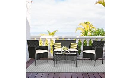 Costway 4PCS Patio Rattan Cushioned Sofa Coffee Table Backyard Porch