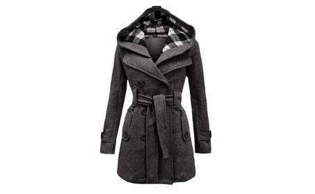 Women's Plaid Hooded Coat Double-Breasted Belt Long Jacket 8fb79ae8-60a2-45c0-add4-0f8aa2669917