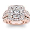 10k Rose Gold 2ct TDW Halo Diamond Bridal Ring (H-I, I2)