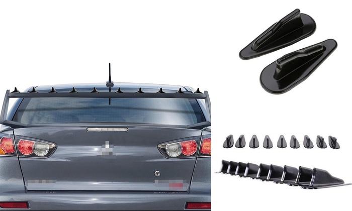1X Vortex Generator Shark Fin Spoiler Wing Black Look Tail Line For Car RoofSN