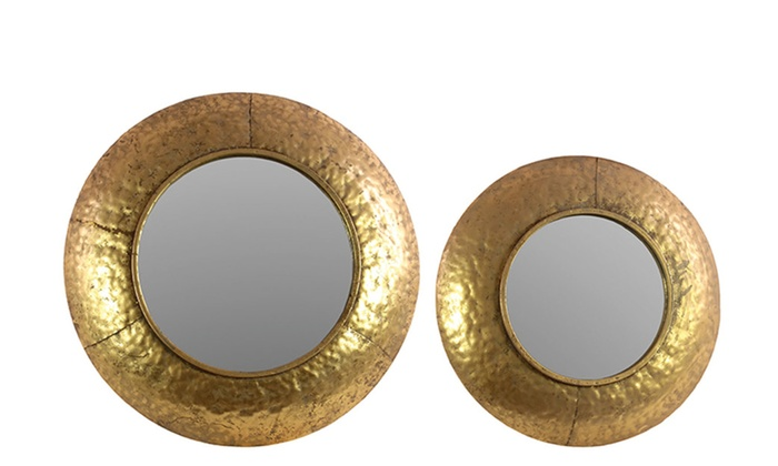 Clickhere2shop: Metal Round Convex Wall Mirror with Dimpled Design Frame Set of Two