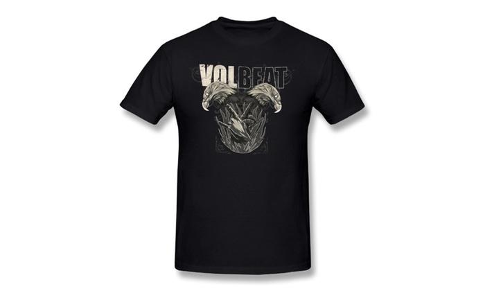 Men's Adult Volbeat Double Eagle Black T-shirts Black