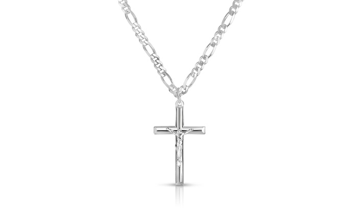 Italian Mens Solid Sterling Silver Cross Necklace with 24