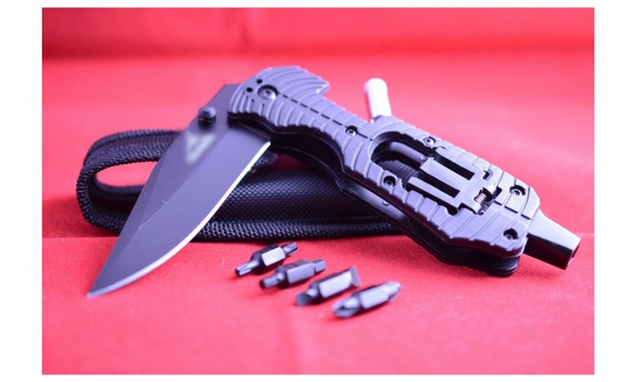 OEM Stainless Steel MultiFolding Hunting Knife with Lead Flashinglight
