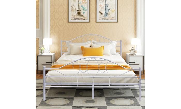 6133f0c70d99 Queen Size Wood Slats Steel Bed Frame Platform Headboard Footboard Black /White