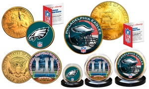 NFL Champions Philadelphia Eagles 24K Gold Plated Coin Set (3-Pc.)
