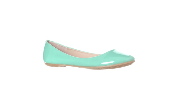 Riverberry 'Aria' Rounded Toe Ballet Flat Slip On, Mint Patent