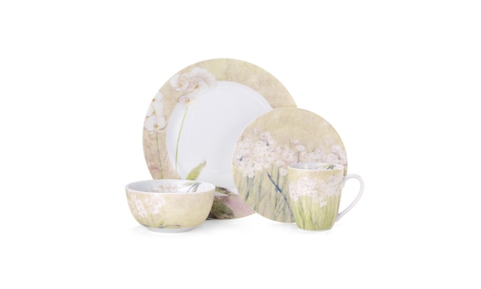 Pfaltzgraff Narcissus Orchid 16 Piece Dinnerware Set | Groupon