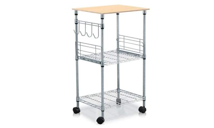Utility Kitchen Cart Microwave Stand 3tier Steel Wire Rolling Rack New
