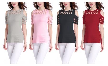 Women's Cold Shoulder Hollow Out Short Sleeve Casual T-Shirt Tops b1deb5b9-a2f1-4582-b6a6-5b8793427971