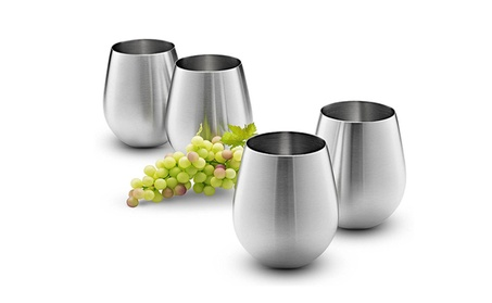 18/8 Stainless Steel Wine Stemless Glasses - Set of 4 photo