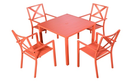 Patio Steel Outdoor Square Dining Table Furniture Garden With 4 Chairs 5af25a5d-5fd8-4e07-9eed-c89c8c6a9654