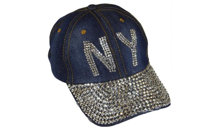 NY New York Sparkling Bedazzled Studded Baseball Cap Hat, Denim