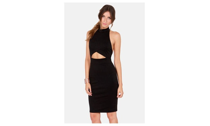 Women's Seductress Bodycon Halter Midi Dress with Cut-out in Black - Black / one size