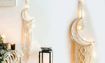 Macrame Woven Wall Hanging Tapestry Boho Chic Home Art Decor Moon With Led Light