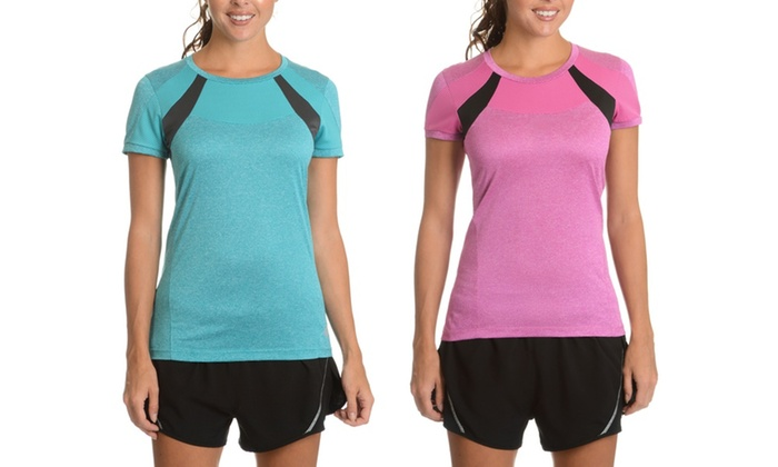 Lotto Women's Marathon Polyester Short-sleeved Active T-shirt (2-Pack)