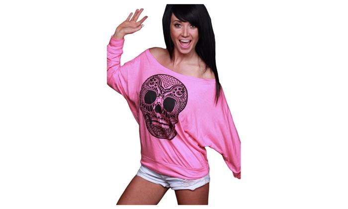 Women's Skull Print Off Neck Pink Long Sleeve T-shirt