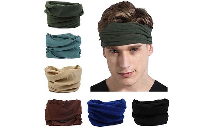 6Pcs Outdoors Headwear Headband Scarf Bandana Stretchy Headwrap Balaclava for Yoga Running Hiking Cycling Multifunctional Headwear Fashion Bandana