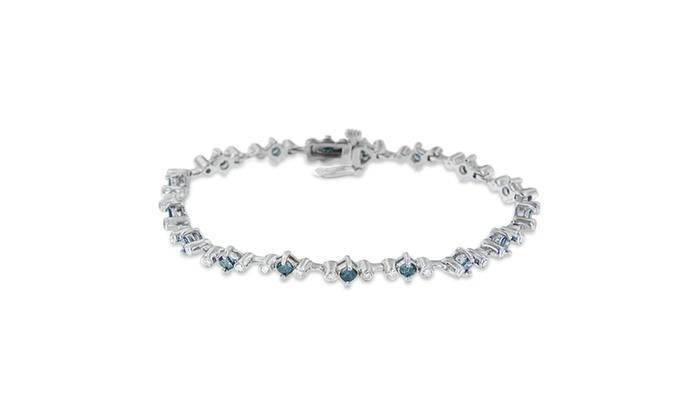 14K White Gold 2ct TDW Treated Blue Princess Cut Diamond Bracelet