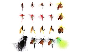 20PCS Dry Wet Fly Fishing Lures Baits Assortment for Trout Bass Salmon