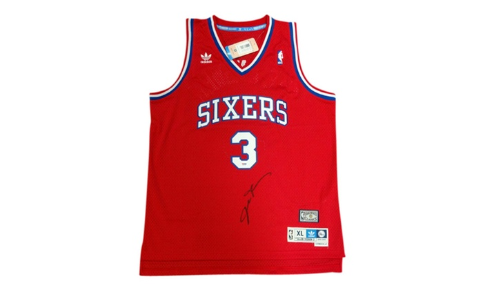 new product d48fe 539c1 Autographed Allen Iverson Philadelphia 76ers Jersey Adidas Red 102497