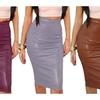 Women's Bodycon PU Leather Pencil Skirt