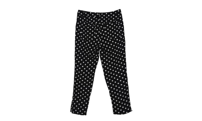 Women's Casual Printed Straight Mid Rise Trousers