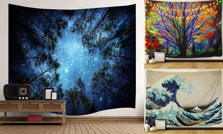 Psychedelic Forest Tapestry Wall Hanging Mandala Hippie Bedspread Home Decor