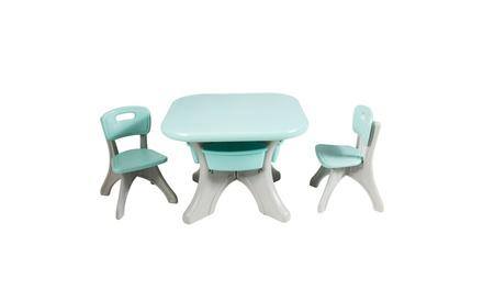 Costway Children Kids Activity Table Chair Set Play Furniture W/Storage