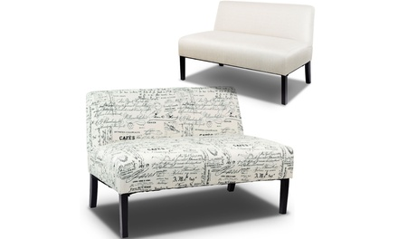 Costway Armless Loveseat Sofa Fabric Settee Bench Bed Chair Wooden Leg