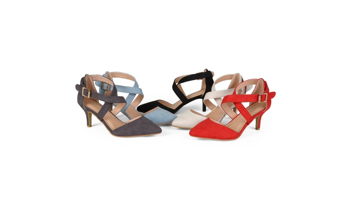 Journee Collection Womens Dara Faux Suede Cross Strap High Heels
