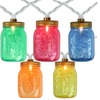 10 Multi-Color Mini Mason Jar Garden Patio Lights - White Wire