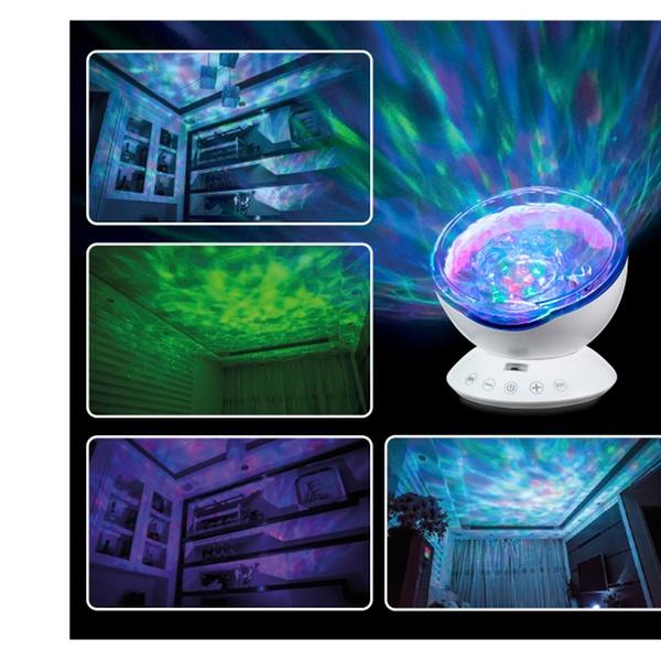 12 LED MUSIC Abco Tech Multicolor Ocean Wave Light Projector Night Light