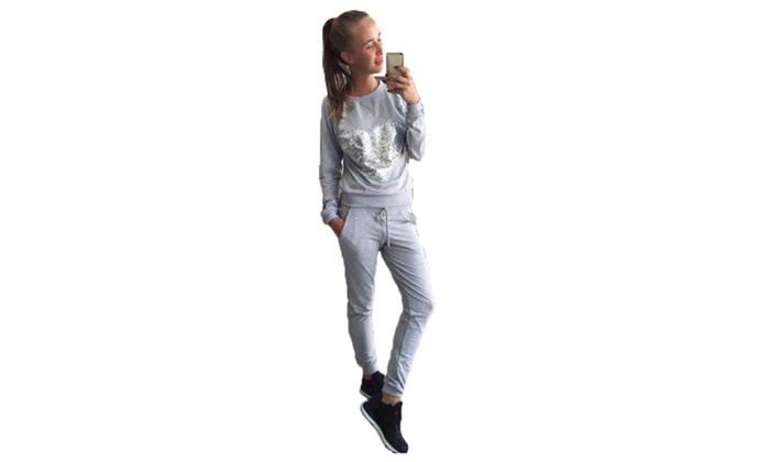 Women's Straight Long Sleeve Ribbing Cuffs Tracksuits