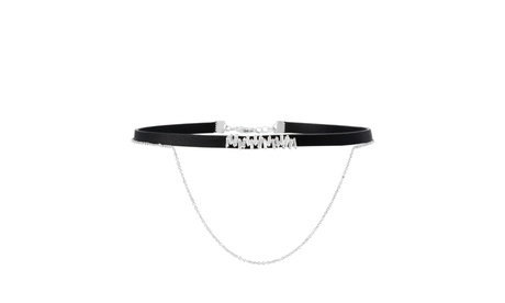 18K White Gold Sterling Silver CZ Double Layer Cable Chain Black Velvet Choker 0b442e03-801d-4398-bda7-ee56d6c8eecb