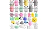 CAF 48Pcs Cute Animal Mochi Squishy, Kawaii Mini Soft Squeeze Toy