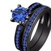 2pcs Luxury Blue Zircon Black Fashion Ring Wedding Trendy Jewelry