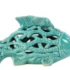 Ceramic Small Fish Figurine with Cutout Design and Coral Side Design