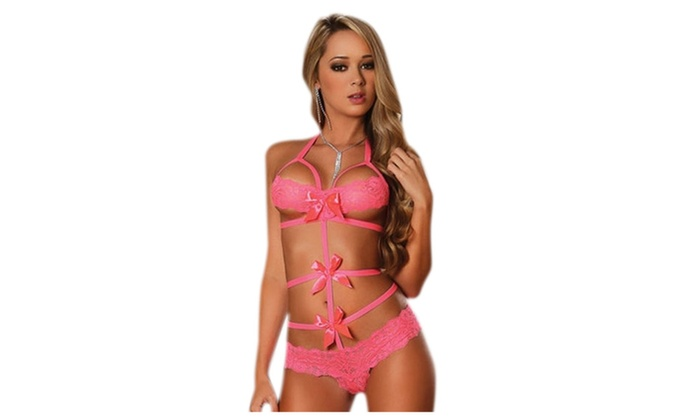 Women's Lingerie Diva Pink Lace Bow Teddy