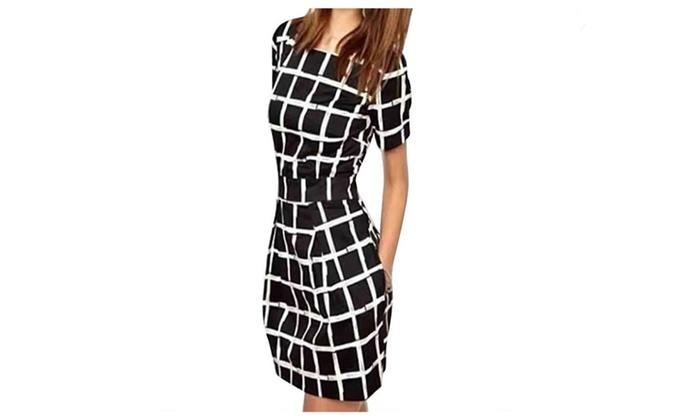 vista shop: Womens Short Sleeve Casual Plaid Pencil Mini Dress