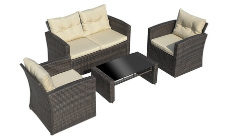 4PCS Gradient Brown Wicker Cushioned Patio Set Garden Sofa Furniture 860e32fc-375f-446f-a6ea-8458ac5e7055
